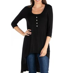 24seven comfort apparel three quarter sleeve high low henley top with button design