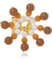 anel le diamond flor de resinas multicolorido bege - tricae