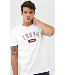 camiseta wrangler lettering branca - kanui