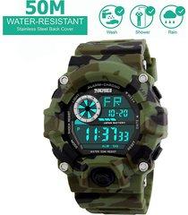 camuflaje verde reloj deportivo skmei militar impermeable