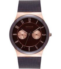 bering men's multi-function brown stainless steel mesh bracelet watch 39mm