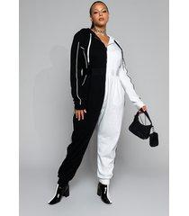 akira plus never flip sides long sleeve front zip jumpsuit
