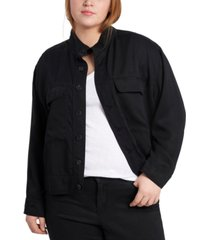 1.state plus size stand-collar jacket