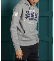 superdry men's vintage-like logo hoodie