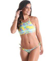 biquãni halter top sem bojo hawaii - verde - praaiah - verde - feminino - dafiti