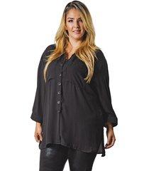 blusa adrissa plus negra over size bolsillos grandes manga larga