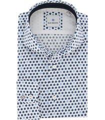 blue industry overhemd blauw dessin