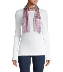 missoni women's fringe-trim textured scarf - pink