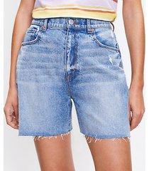 loft curvy fresh cut high waist boyfriend shorts in light wash