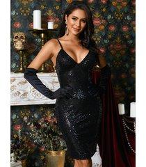 fiesta sexy con cuello en v negro brillante vestido con correas de hombro ajustables