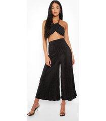 tall plisse culottes, black