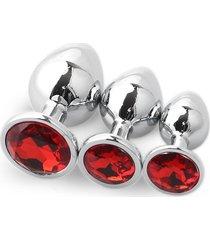 3pcs redondo convencional plug anal grande mediano y pequeño traje rojo con diamantes