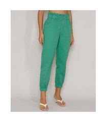calça de sarja feminina mom jogger cintura super alta verde