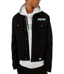 chaqueta go denim jacket racer logo negro guess