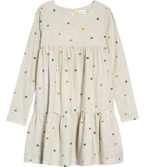girl's mini boden floral tiered cotton dress, size 5-6y - beige