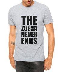 camiseta criativa urbana engraçadas the zueira never ends manga curta - masculino