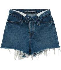 vintage dark indigo bite flip shorts
