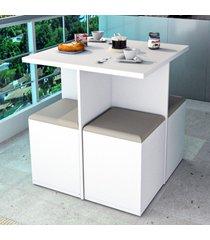 mesa de jantar 4 lugares branco/bege con1201 - appunto