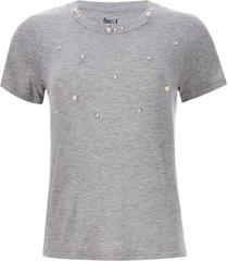 camiseta mujer a rayas con perlas color gris, talla 12
