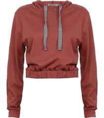 polerón wados top con capucha rosa - calce regular