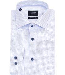 adam est 1916 katoenen dressual overhemd print wit
