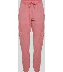 calça de moletom feminina cargo cintura alta rosa