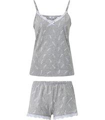 pyjamas med fjädermönster och spetsdetaljer