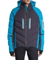 colorblocked raglan-sleeve puffer jacket