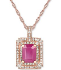 """certified ruby (1 ct. t.w.) & diamond (1/3 ct. t.w.) 18"""" pendant necklace in 14k rose gold"""