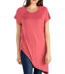 24seven comfort apparel capped sleeve t-shirt with asymmetric hemline