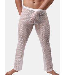 sexy sperone sottile traslucido design tessuto diamante sciolto confortevole pigiama sonno pantaloni per gli uomini