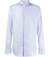canali cutaway-collar cotton shirt - blue