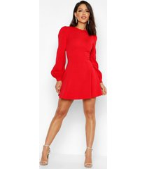 bust detail blouson sleeve skater dress, red