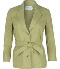 olive linen belted blazer