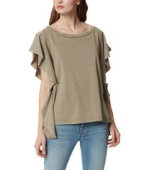frayed ophelia extended flutter sleeve top