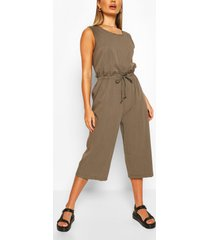 baggy culotte jumpsuit met touwtjes, licht kaki
