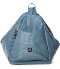 mochila  de cuero azul xl extra large makian mochila