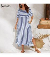 zanzea vestido largo de playa de manga corta a rayas sueltas de verano para mujer vestidos largos -azul