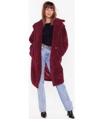 womens warm love faux fur coat - berry
