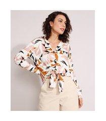 camisa cropped ampla de viscose estampada geométrica com nó manga longa off white