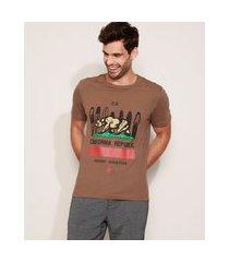 "camiseta masculina california republic"" manga curta gola careca marrom"""