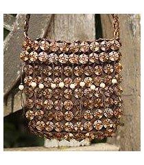 coconut shell shoulder bag, 'eco buttons' (thailand)
