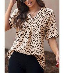camicetta donna manica corta allentata con scollo a v con stampa leopardata natalizia