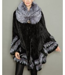 the fur vault fox-fur-trim knitted mink fur coat