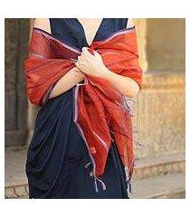 cotton and silk shawl, 'maheshwari coral' (india)