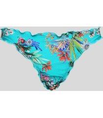 biquíni feminino tanga floral com fru fru azul