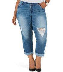 plus size women's poetic justice verla frayed hem crop boyfriend jeans, size 22w - blue