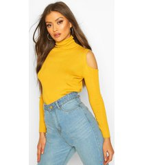 cold shoulder turtle neck knitted top, mustard