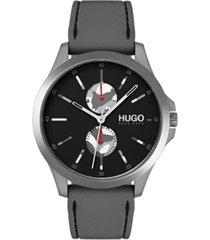 hugo men's #jump gray rubber strap watch 41mm