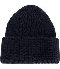 roberto collina ribbed-knit merino beanie - blue